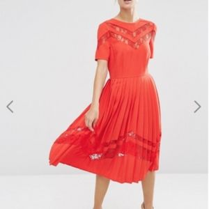 ASOS Premium Red Pleated Midi Dress w/ Lace Insert